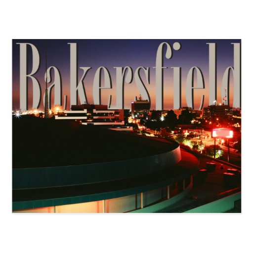 Bakersfield skyline with bakersfield in the sky postcard for Craft stores bakersfield ca