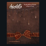 """Bakery and Chocolatier Bake Sale Flyer<br><div class=""""desc"""">Indulge your inner chocoholic with this fun flyer for a bakery, candy store or Chocolatier bake sale. This sale flyer features rich dark chocolate border dripping down onto chocolate brown background. Toffee brown faux bow accent complete the front view. All text on front and back of this flyer is ready...</div>"""