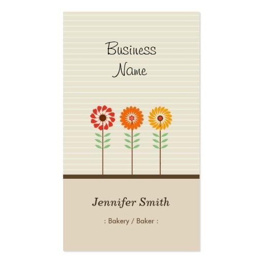Bakery / Baker - Cute Floral Theme Business Card Template