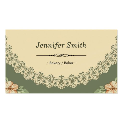 Bakery / Baker - Vintage Chic Floral Business Cards