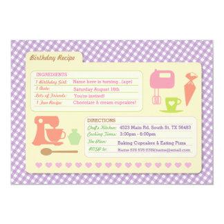 Bakery Baking Recipe Card Birthday Party invite
