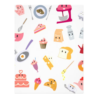 Bakery beverage and sweet kitchen cute icon set letterhead