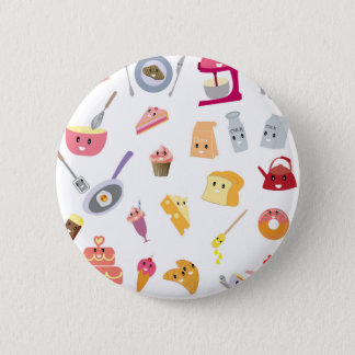 Bakery beverage and sweet kitchen cute icon set pinback button