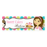 Bakery Brunette Baker Cup Product Hang Tag Label Business Cards