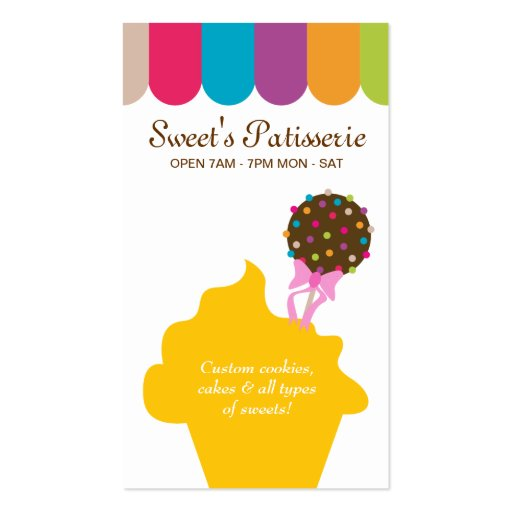 Bakery Business Card Cake Pop Dots Canopy (front side)