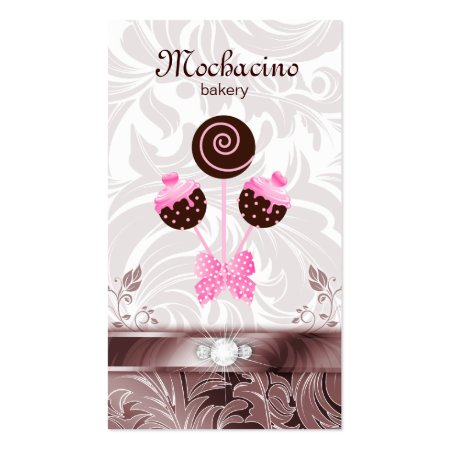 Floral Background Ribbon and Diamonds Cute Pink and Brown Cake Pops Swirls Bakery Business Cards