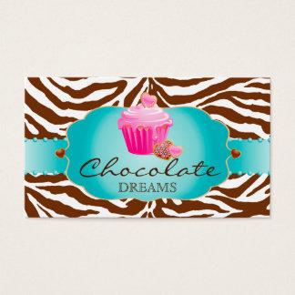 Bakery Business Card Chocolate Cupcake pink
