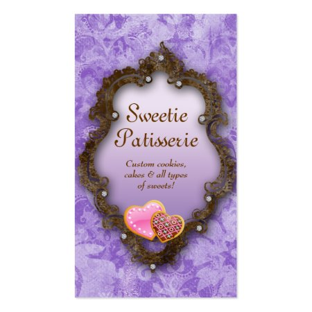 Vintage Purple Background with Brown Frame and Love Heart Cookies Bakery or Patisserie Business Card Template