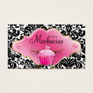 Bakery Business Card Cupcake Gold Swirls