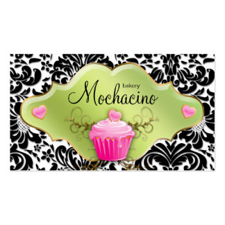 Bakery Business Card Cupcake Gold Swirls Lime Pink