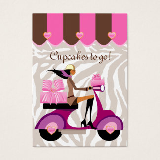 Bakery Business Card Scooter Girl Pink Boxes Zebra