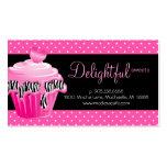 Bakery Business Card Zebra Dots Pink Cupcake Heart