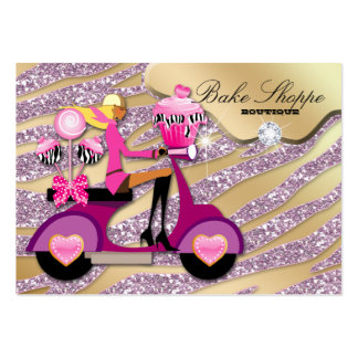 Bakery Business Card Zebra Pink Cake Pops Cupcake