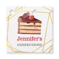 Bakery Business Chocolate Cake Gold Custom Favor Tags