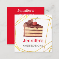 Bakery Business Chocolate Cake Gold Homemade Square Business Card