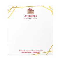 Bakery Business Chocolate Cake Gold Personalized Notepad
