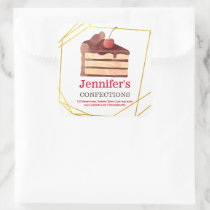 Bakery Business Chocolate Cake Gold Square Sticker