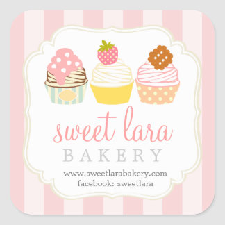 Bakery Cafe Retro Sweet Cupcakes Cute Boutique Square Sticker