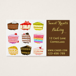 Bakery cake cute cake slices business card
