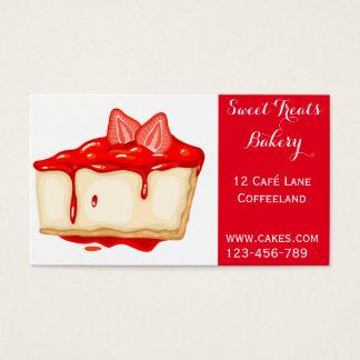 Bakery cake cute strawberry cheesecake business card