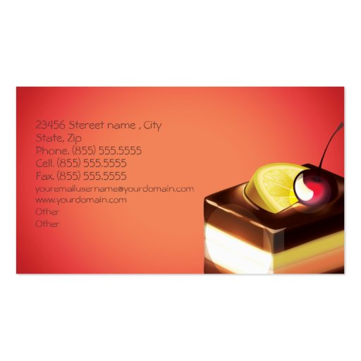 Bakery Cakes Business Business Card (back side)