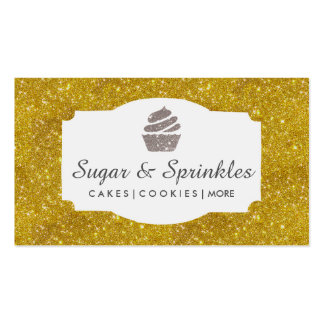 Bakery & Catering Gold Glitter Business Cards