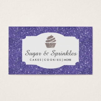 Bakery & Catering Purple Glitter Business Cards