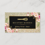"""Bakery Chef Whisk Logo   Floral Gold Glitter Business Card<br><div class=""""desc"""">Make a great impression with this stylish &quot;Floral Gold Glitter Sparkles Whisk Logo&quot; Business Card for your Bakery Store. Create yours today! (1) For further customization, please click the &quot;Customize&quot; button and use our design tool to modify this template. (2) If you prefer thicker papers, you may consider to choose...</div>"""