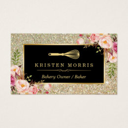 Bakery business cards 5200 bakery business card templates bakery chef whisk logo floral gold glitter business card reheart Gallery