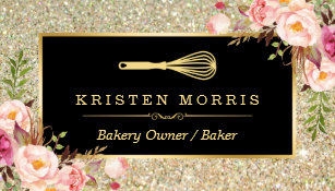 Glitter business cards zazzle bakery chef whisk logo floral gold glitter business card colourmoves