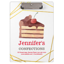 Bakery Chocolate Cake Gold Personalized Clipboard