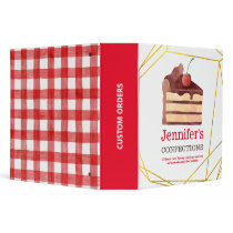 Bakery Chocolate Cake Red Gingham Personalized 3 Ring Binder