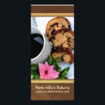 """Bakery / Coffee shop Advertisement Rack Card<br><div class=""""desc"""">Coffee cake with a cup of coffee and bright pink flower.  Tasteful advertisement for coffee shop,  bakery,  ktichen or start up bakery.</div>"""