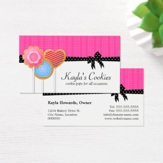 Bakery Cookie Pops Hot Pink Business Card