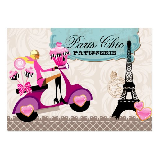 Bakery Cupcake Cake Pops Paris Eiffel Tower Business Card Template (front side)