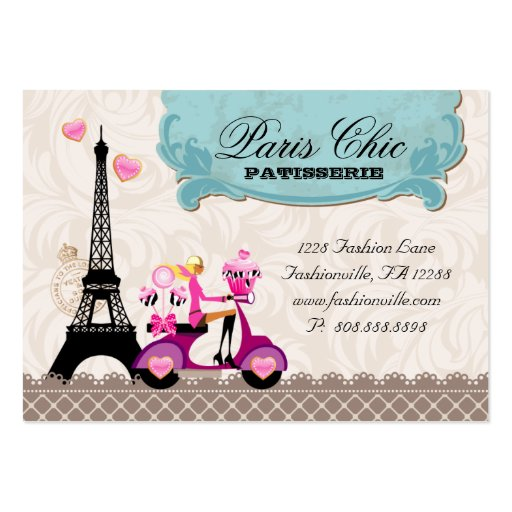 Bakery Cupcake Cake Pops Paris Eiffel Tower Business Card Template (back side)