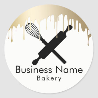 Bakery Cupcake Chef Modern Gold Drips Classic Round Sticker