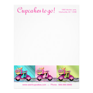 Bakery Cupcake Letterhead Scooter Girl Trio Pink