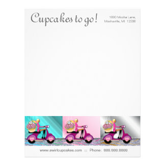 Bakery Cupcake Letterhead Scooter Girl Trio S