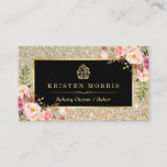 """Bakery Cupcake Logo   Floral Gold Glitter Sparkles Business Card<br><div class=""""desc"""">Make a great impression with this stylish &quot;Floral Gold Glitter Sparkles Cupcake Logo&quot; Business Card for your Bakery Store. Create yours today! (1) For further customization, please click the &quot;Customize&quot; button and use our design tool to modify this template. All text style, colors, sizes can be modified to fit your...</div>"""