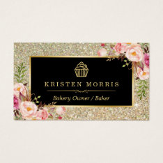 Bakery Cupcake Logo | Floral Gold Glitter Sparkles Business Card at Zazzle