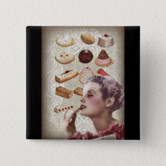 bakery cupcake pastry retro lady paris button