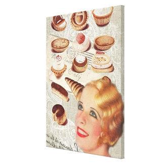 bakery cupcake pastry retro lady paris canvas print