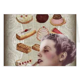 bakery cupcake pastry retro lady paris card