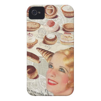 bakery cupcake pastry retro lady paris Case-Mate iPhone 4 case