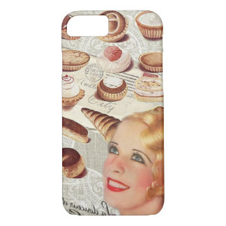 bakery cupcake pastry retro lady paris iPhone 7 case