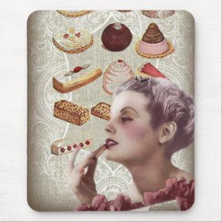 bakery cupcake pastry retro lady paris mouse pad