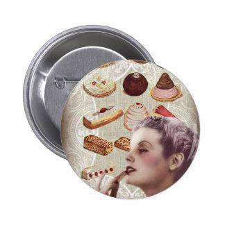 bakery cupcake pastry retro lady paris pinback button