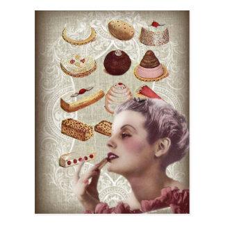 bakery cupcake pastry retro lady paris postcard