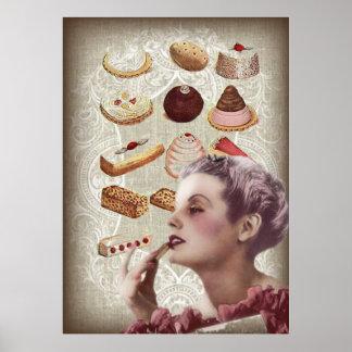 bakery cupcake pastry retro lady paris poster